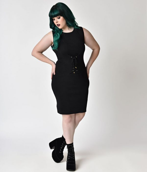 Gothic Style Plus Size Black Corset Waist Front Sheath Dress