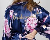 Bridesmaid Floral Robes/ Personalized Robes/ Bridal robes/ Bridesmaid Gifts/ Bridal Party Robes/ Floral Bridesmaid Robe (English Garden)