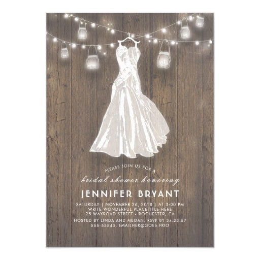 Rustic Bridal Shower Wedding Gown and Mason Jars Invitation