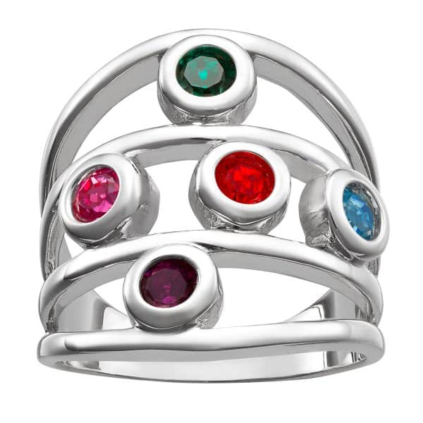 Sterling Silver Family Birthstone Ring - 5 Stones