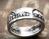 Valentines Day Gift for Him Silver Coin Ring made from a Silver Barber U.S. Half Dollar Valentine for Men Februrary Birthday Anniversary