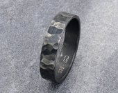 Rustic Wedding Band Mens Ring, Oxidized Sterling Silver Hammered Ring for Men, Promise Ring, Personalized Gifts for Him