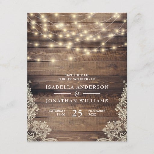 Rustic Wood & String Lights Lace Save The Date Announcement Postcard