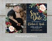 Elegant Rustic Navy Floral Fall Wedding Photo Save The Date Card,Burgundy,Blush,Marsala,Roses,Barn Wood,Gold Print,Shimmery,Printed Card