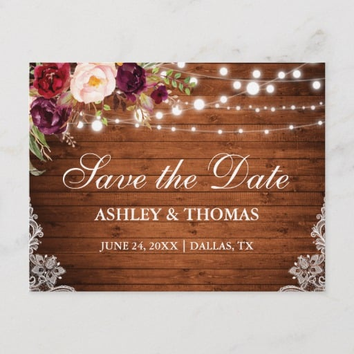 Rustic Wood Lights Lace Floral Save the Date Announcement Postcard