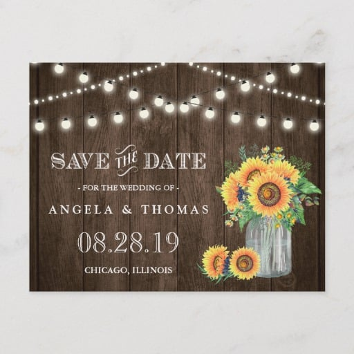 Sunflowers Save the Date Rustic Wood String Lights Announcement Postcard