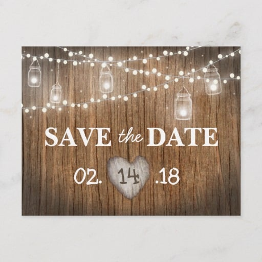 Rustic String Lights Mason Jar Wood Save the Date Announcement Postcard