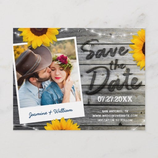 Rustic Save the Date Invitations Sunflower Wood