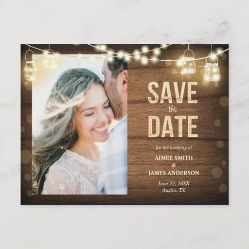 Rustic Save the Date Postcard String Lights Wood