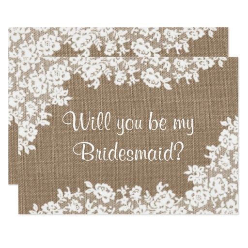 Will You Be My Bridesmaid? Rustic Burlap & Lace Invitation
