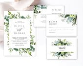 Wedding Invitation suite with eucalyptus greenery and elegant calligraphy, RSVP card, Thank you card, Editable templates in Templett FLG