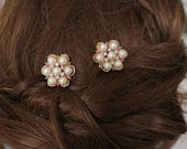 Vintage Style Rose Gold Wedding Hair Pins Pearl and Crystal Hair Clip Bridal Hair Accessories Set of two Small Hair Jewelry Daisy Flower