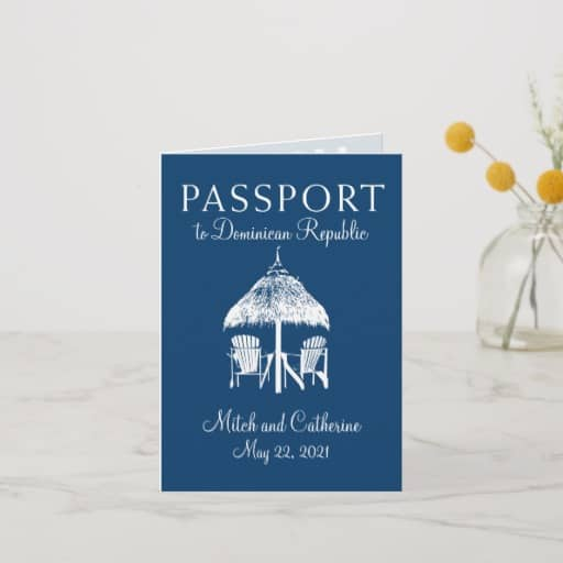 Navy Blue Dominican Republic Passport Wedding Invitation