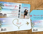 Destination Wedding Boarding Pass Invitation Set Photo Luggage Tag Reply Beach Chairs Palm Trees Save the Date Ticket to Paradise