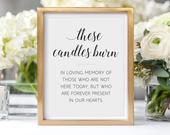 These Candles Burn, Memorial Candle Sign, In Memory Of, Printable Memorial Sign, Alejandra