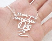 Personalized Signature Necklace in Sterling Silver / Handwriting Necklace/ Handwritten necklace/ Mothers Gift/ Sentimental Gift NH01