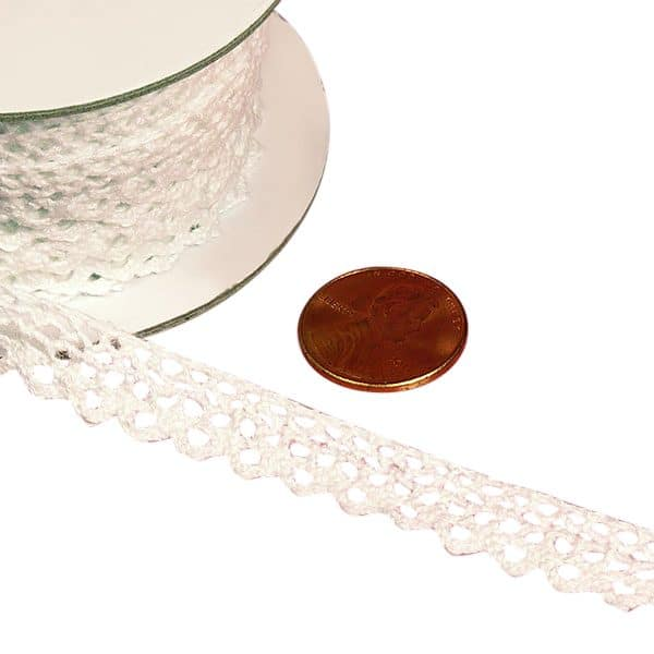"White Lace Trims 10 Yards Cotton - Ribbon Width: 3/8"" Length: 10 yd by Paper Mart"