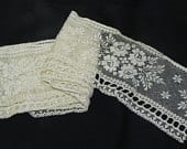Vintage Ecru Lace with Netting Florals Beading 1.5 yards x 3 inches