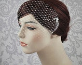 Pearl Bandeau Veil, Pearl Birdcage Veil, Blusher Veil with Tiny Pearls on French Netting, Vintage Style Birdcage Veil, Rhinestone 122BC