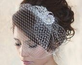 Wedding Birdcage Veil WITHOUT Crystal rhinestone brooch