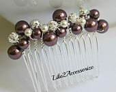 Burgundy Maroon Hair Comb Bridal Headpiece Wedding Hair Accessories Pearl Comb Bridesmaid Hairpiece Bridal Falls Wedding Vintage Hair Comb