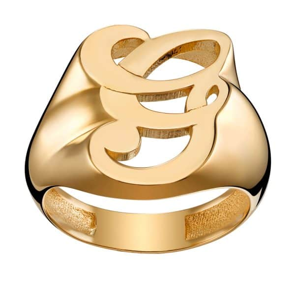 Ladies Gold over Sterling Fancy Single Initial Ring