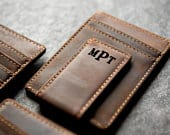 Personalized Leather Money Magnetic Clip Distressed Custom Name, Initials, Quote, Date, Monogram