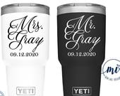 Mrs. Mr. Yeti Decal / Custom Color, Size, Date, Last Name / Wedding, Engagement, Married, Gift, Vinyl Sticker, Tumbler, Cup, DECAL ONLY