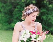 Bridal Headband Silver, Wedding headband flowers with pearls and crystals, Style H49