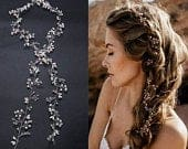pearl and crystal beads bridal hair vine, wedding head piece, bridal hair accessories, headband hair jewelry SV3501