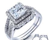 Princess Cut Halo 925 Sterling Silver CZ Engagement Ring Wedding Band Bridal Wedding Rings Set Women Size 59 SS2066