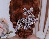 Bridal Wedding Headpiece Hair Comb Party Crystal Jewelry Silver Brides Accessories Head Piece Hairpiece Gift Weddings Floral Vine Accessory