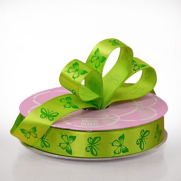 "5/8"" X 25 Yards Polyester Green/Forest Butterfly Satin Ribbon by Ribbons.com"