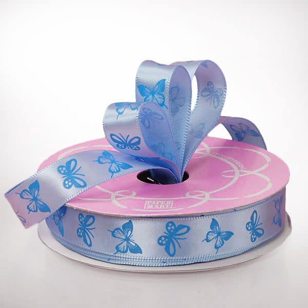 "5/8"" X 25 Yards Polyester Sky Blue/Blue Butterfly Satin Ribbon by Ribbons.com"