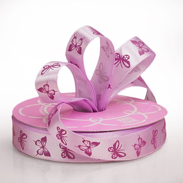 "5/8"" X 25 Yards Polyester Purple/Lavender Butterfly Satin Ribbon by Ribbons.com"