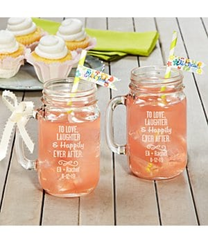 Personalized To The Happy Couple! Mason Jars