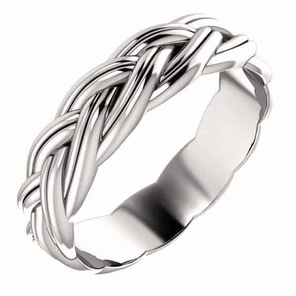 Platinum Sculpted Braided Wedding Band Ring