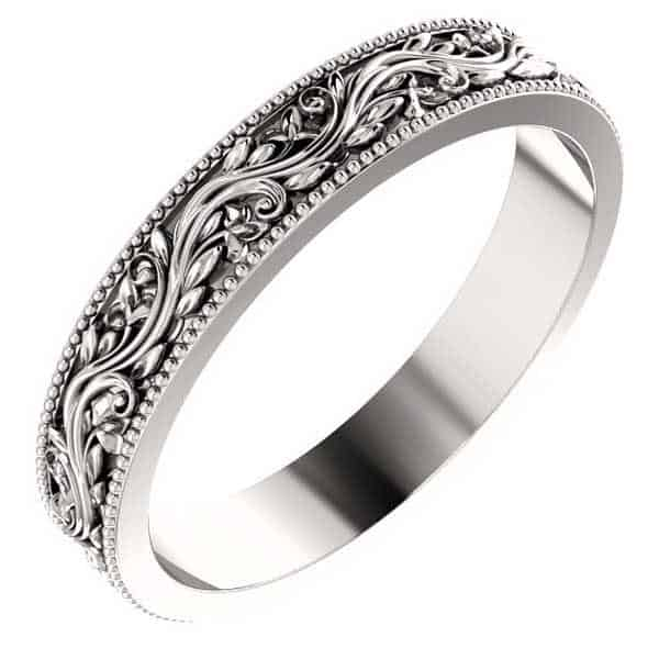 Women's Platinum Sculptural Paisley Wedding Band Ring