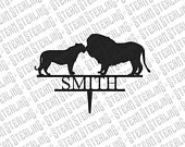 Wedding Cake Topper Personalized Kissing Lions Silhouette Laser Cut LGBT Gay Lesbian Friendly