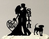 MADE In USA, Personalized Wedding Cake Topper with Dog, Silhouette Wedding Cake Topper, Bride Groom Dog Cake Topper Decoration,