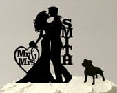 MADE In USA, Silhouette Personalized Wedding Cake Topper Pet Dog, Pit Bull Silhouette Wedding Cake Topper, Personalized Cake Topper,