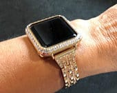 Apple Watch Band Rhinestone Slim Crystals Rose Gold 38mm/40mm 42mm/44mm Series 1,2,3,4 /Case Cover Bezel 3mm Lab Diamonds CZs