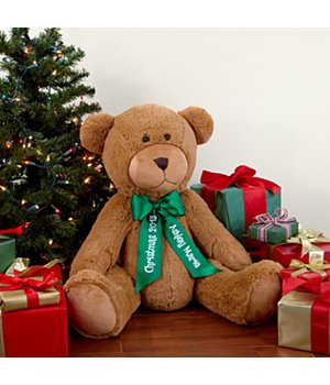 "Personalized 27"" Plush Teddy Bear - Green Ribbon"