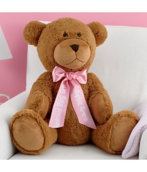 "Personalized 27"" Plush Teddy Bear - Pink Ribbon"