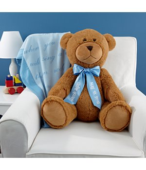 "Personalized 27"" Plush Teddy Bear - Light Blue Ribbon"