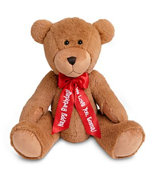 "Personalized 27"" Plush Teddy Bear - Red Ribbon"