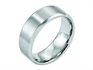 Chisel Cobalt Beveled Edge Satin And Polished 8mm Weeding Band