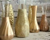 Gold vases, Set of 18 CUSTOM gold glitter dipped vintage budvases and, painted bud vase, gold wedding table decor, vase collection