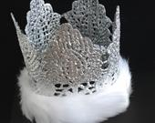 Winter Wonderland crown, Silver Crown, Photo Prop, Lace Crown, Princess Crown, First Birthday Crown, Silver Crown Headband, Toddler Crown