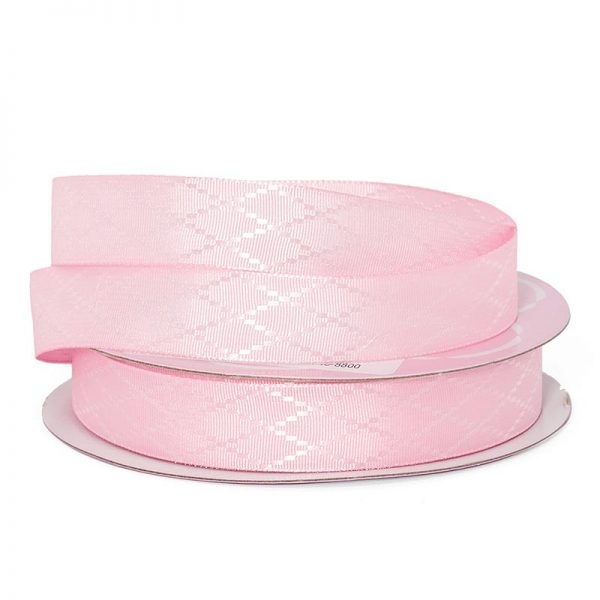 "Pink Diamond Detail Satin Ribbon - 5/8"" X 25yd - Grosgrain by Paper Mart"